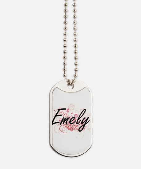 Emely Artistic Name Design with Flowers Dog Tags