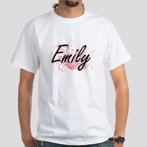 Emily Artistic Name Design with Flowers T-Shirt
