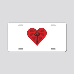 Heart And Key Aluminum License Plate