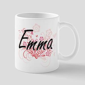 Emma Artistic Name Design with Flowers Mugs