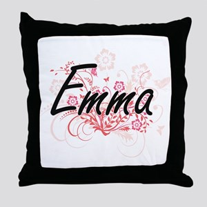 Emma Artistic Name Design with Flower Throw Pillow
