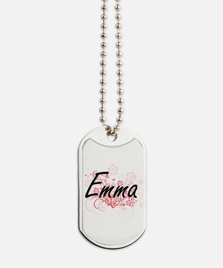 Emma Artistic Name Design with Flowers Dog Tags