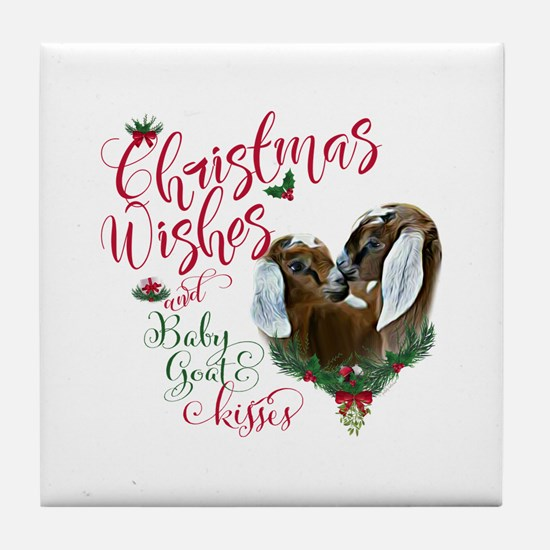 Christmas Goat | Christmas Wishes Bab Tile Coaster