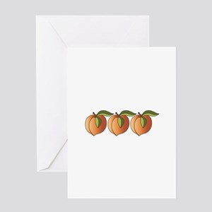 Row Of Peaches Greeting Cards