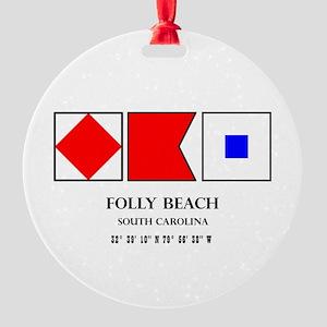 Folly Beach Nautical Flag Round Ornament