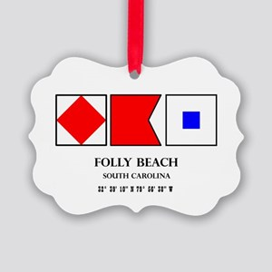 Folly Beach Nautical Flag Picture Ornament