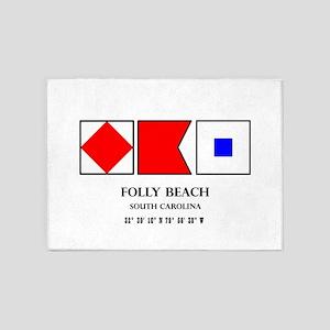 Folly Beach Nautical Flag 5'x7'Area Rug
