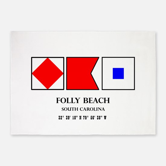 Folly Beach Nautical Flag 5'x7'Area Rug