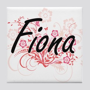 Fiona Artistic Name Design with Flowe Tile Coaster