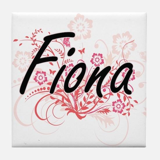 Fiona Artistic Name Design with Flowe Tile Coaster