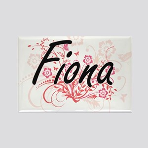 Fiona Artistic Name Design with Flowers Magnets