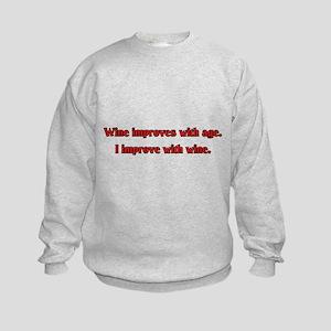 I Improve With Wine Kids Sweatshirt
