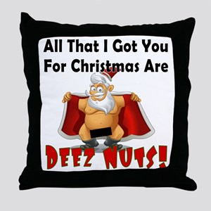 Santa Deez Nuts Throw Pillow