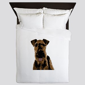 Shadowy Airedale Terrier Queen Duvet