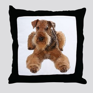 Heavily Deconstructed Vector Airedale Throw Pillow