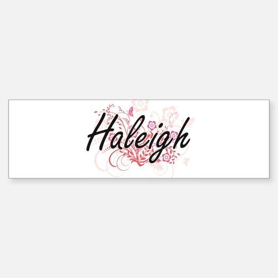 Haleigh Artistic Name Design with F Bumper Car Car Sticker