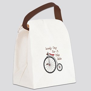 Lovely Day to Bike Canvas Lunch Bag