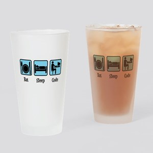 Eat Sleep Code Drinking Glass