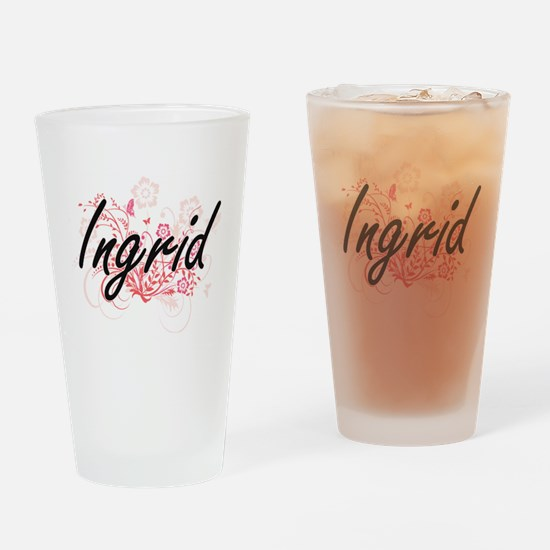 Ingrid Artistic Name Design with Fl Drinking Glass