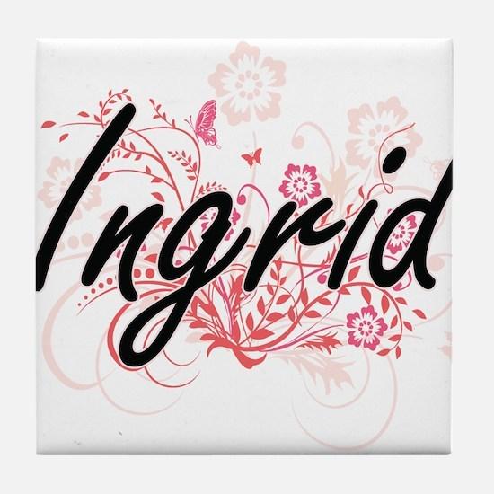 Ingrid Artistic Name Design with Flow Tile Coaster