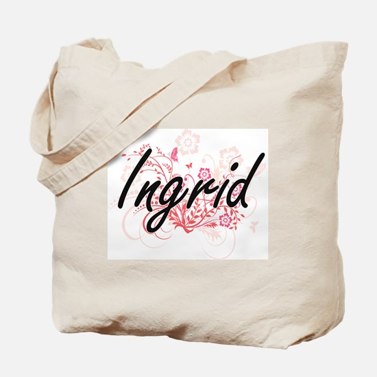 Ingrid Artistic Name Design with Flowers Tote Bag