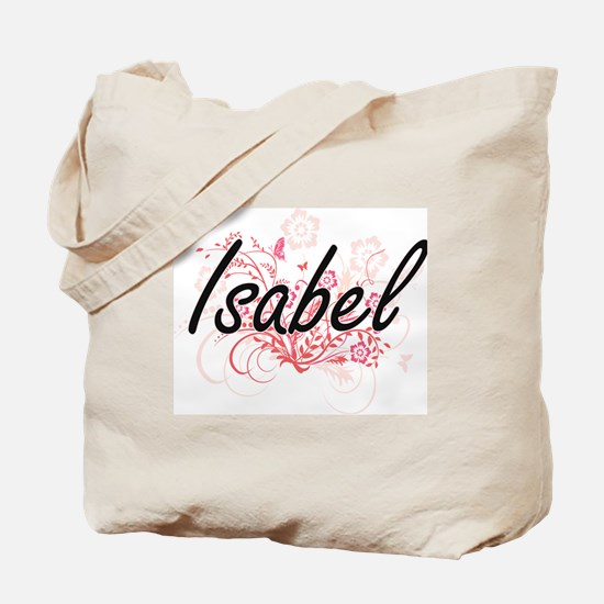 Isabel Artistic Name Design with Flowers Tote Bag