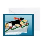 Black & Yellow Labs Boat Christmas Greeting Ca