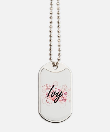 Ivy Artistic Name Design with Flowers Dog Tags