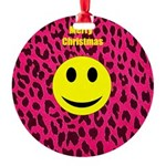 Cheetah Smiley Round Ornament