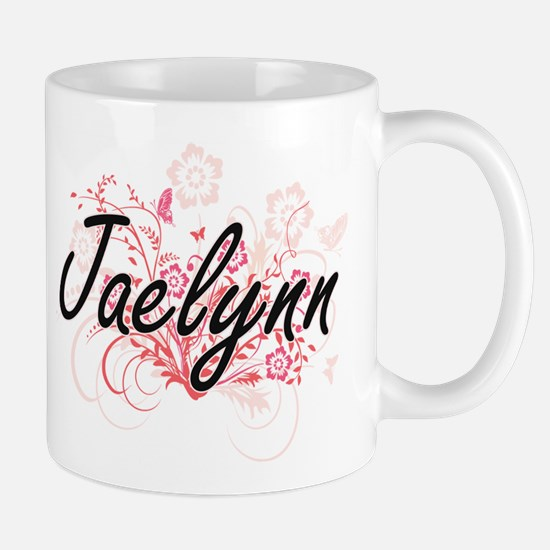 Jaelynn Artistic Name Design with Flowers Mugs