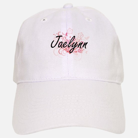 Jaelynn Artistic Name Design with Flowers Baseball Baseball Cap