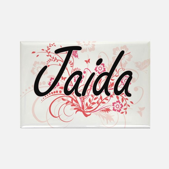 Jaida Artistic Name Design with Flowers Magnets