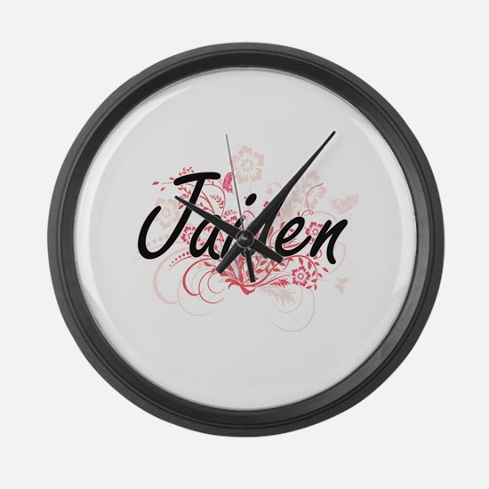 Jaiden Artistic Name Design with Large Wall Clock