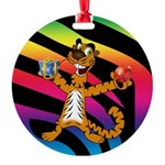 Tiger In The Mood Round Ornament