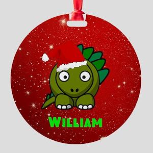 Personalized Dinosaur Round Ornament