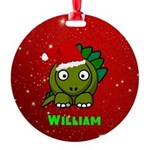 Personalized Dinosaur Round Ornament