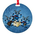 Band Of Reindeer Round Ornament