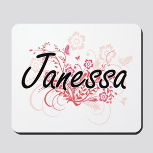 Janessa Artistic Name Design with Flower Mousepad