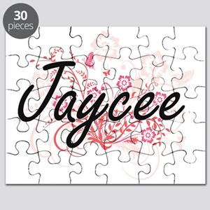 Jaycee Artistic Name Design with Flowers Puzzle