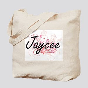 Jaycee Artistic Name Design with Flowers Tote Bag
