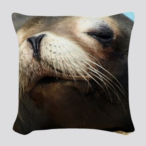 CUTE SEA LION Woven Throw Pillow