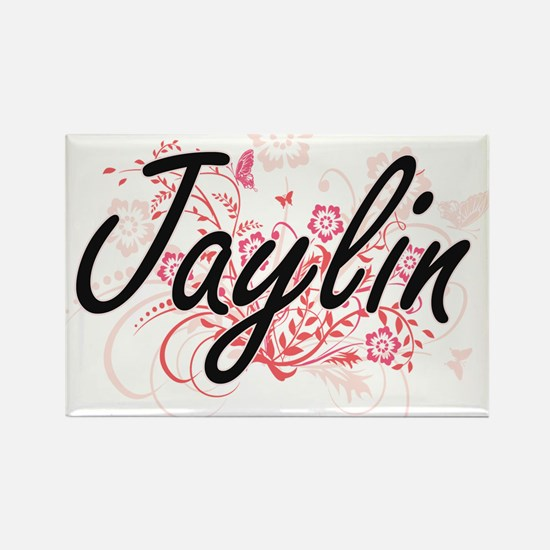 Jaylin Artistic Name Design with Flowers Magnets