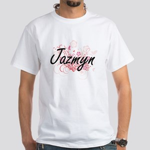 Jazmyn Artistic Name Design with Flowers T-Shirt