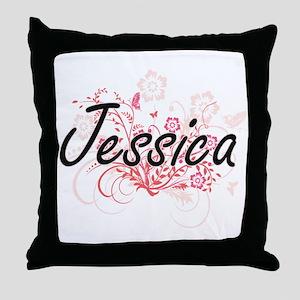 Jessica Artistic Name Design with Flo Throw Pillow