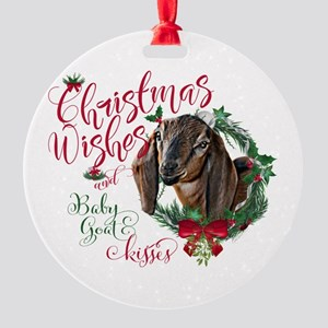 Christmas Goat | Christmas Wishes B Round Ornament