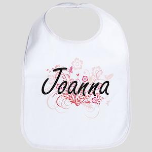 Joanna Artistic Name Design with Flowers Bib