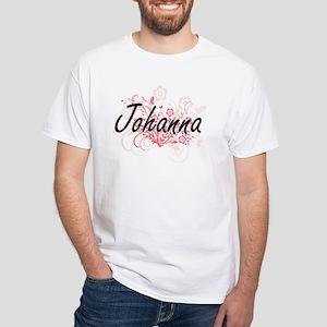 Johanna Artistic Name Design with Flowers T-Shirt