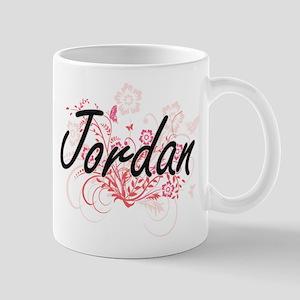 Jordan Artistic Name Design with Flowers Mugs
