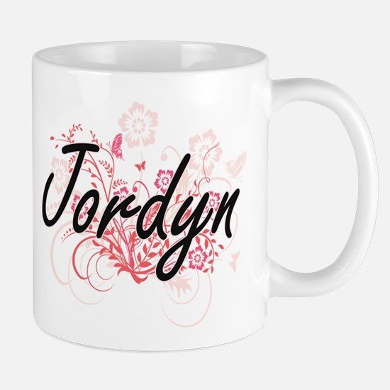 Jordyn Artistic Name Design with Flowers Mugs