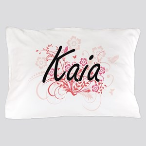 Kaia Artistic Name Design with Flowers Pillow Case